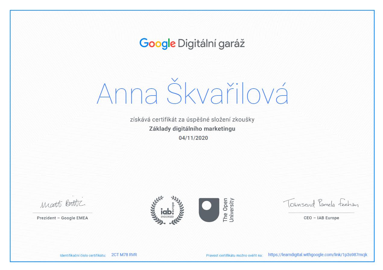 Anna Škvařilová certifikát